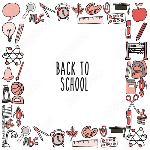 Photo Stands Illustrations back to school set supplies icon vector illustration design