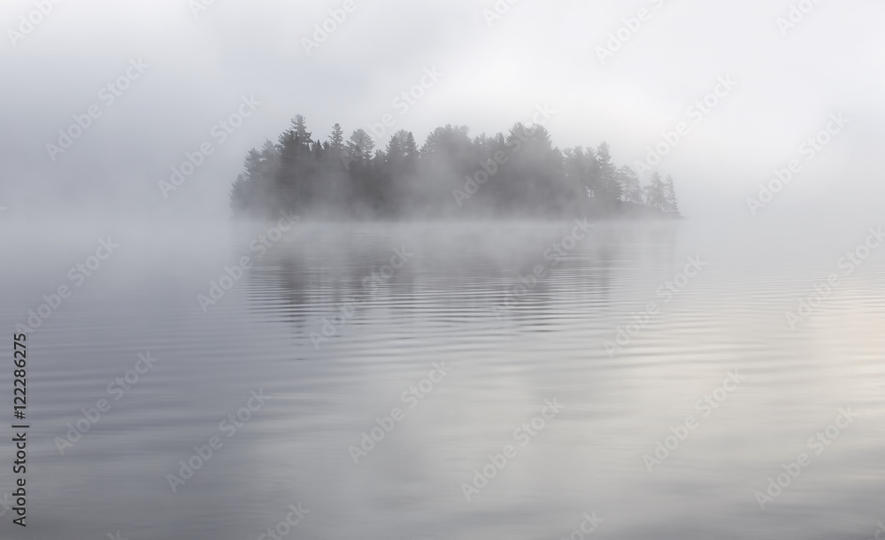Fototapety, obrazy: Island in the fog on Lake of Two Rivers in Algonquin Park, Canada