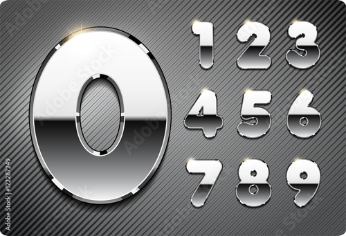 Fotografia, Obraz  3d Joyful set of chrome metal vector numbers, from 1 to 0
