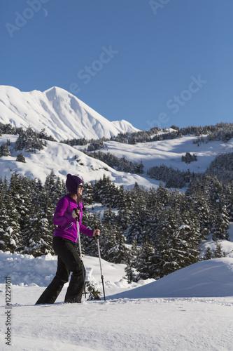 Poster Wintersporten Woman snowshoeing on a sunny day at Turnagain Pass, Kenai Peninsula, Chugach National Forest, Southcentral Alaska, Winter