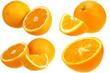Fresh oranges isolated on white background set