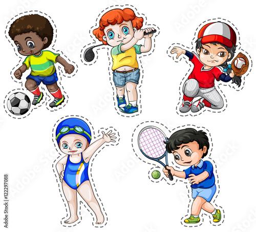 Printed kitchen splashbacks Knights Sticker set of children playing sports