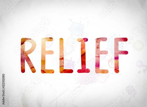 Valokuva  Relief Concept Watercolor Word Art