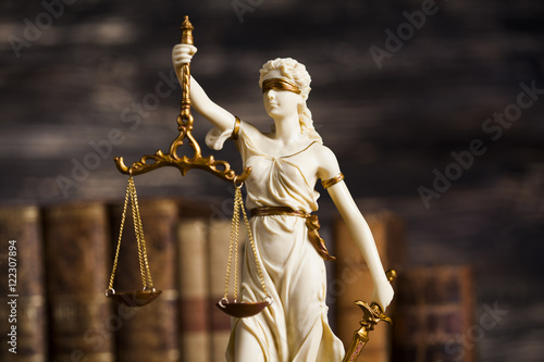 Statue of justice, burden of proof, law theme Wallpaper Mural