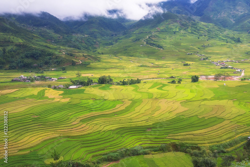 Canvas Prints Honey A beautiful rice terrace with colorful in the cloudy day