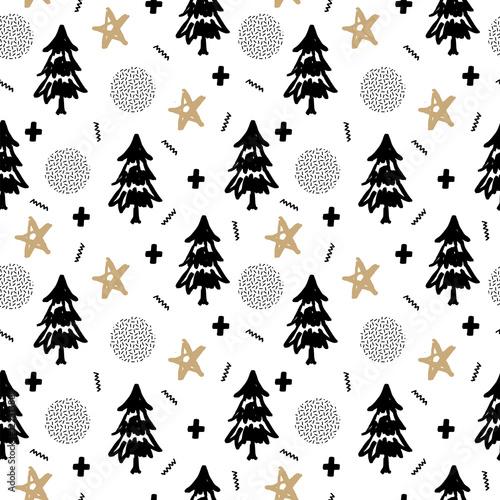 swiateczny-wzor-czarne-choinki-zlote-gwiazdy-na-bialym-tle