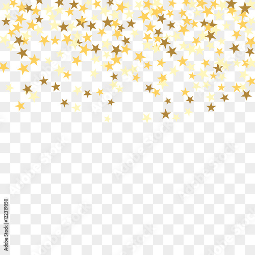 gold star confetti celebration isolated on transparent