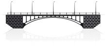 Reinforced Concrete Arch Bridge In Kiev For Cars And Pedestrians. Black Silhouette.