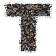 T Letter Photomosaic From Business Oriented Photos