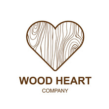 Abstract Icon With Wooden Texture,heart,Logo Design,Vector Illustration,concept Wood, Sign,symbol,icon,Interesting Design Template For Your Company Logo