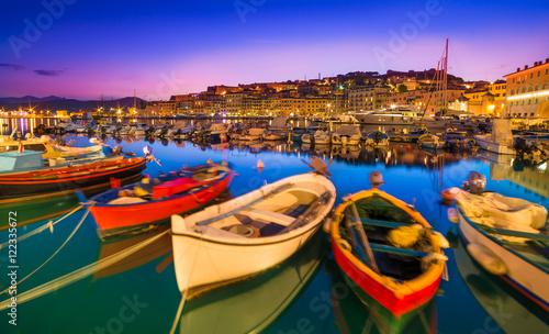 Wall Murals Tuscany Portoferraio boats on the coastline of isola d'Elba, Elba island in Tuscany region, Italy.