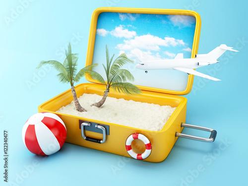 Obraz na dibondzie (fotoboard) Walizka podróżna. koncepcja wakacje na plaży
