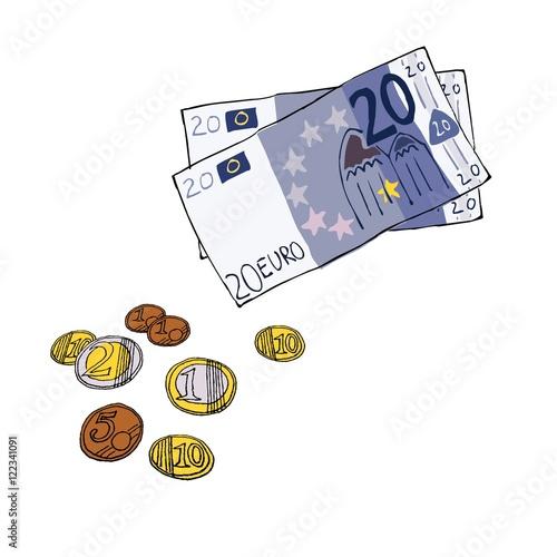 Euro Scheine Münzen Handgezeichnet Illustration Comic Buy This