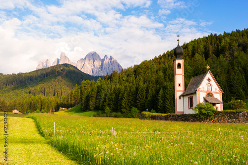 Photo  Santa Maddalena church in Val di Funes valley