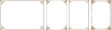Gold Frame, Vector Set Of Gold Decorative Horizontal Floral Elements, Corners, Borders, Frame