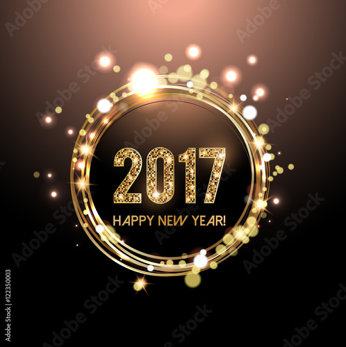 Photo  Happy New Year 2017 card, Golden lights background
