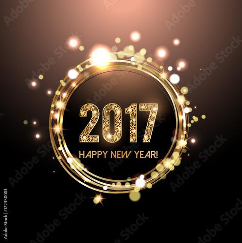 Fotografía  Happy New Year 2017 card, Golden lights background