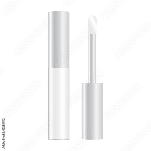 Valokuvatapetti colourless shiny lip gloss opened vector illustration