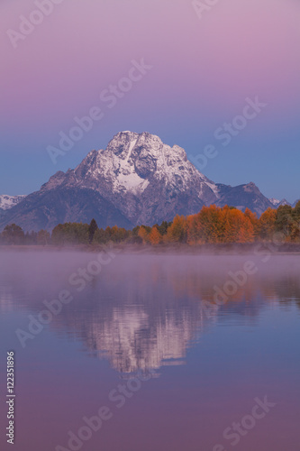 Foto op Canvas Candy roze Autumn Sunrise at Oxbow Bend