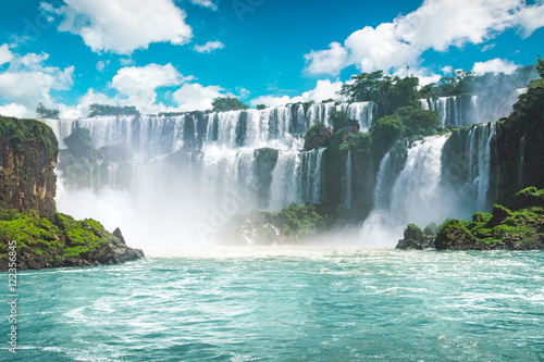Photo sur Toile Cascade The amazing Iguazu waterfalls in Brazil