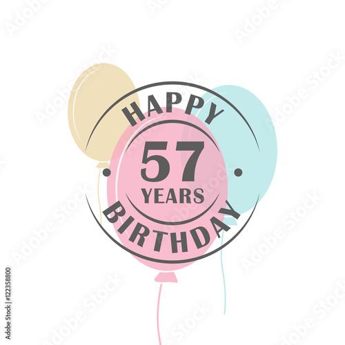Valokuva Happy birthday 57 years round logo with festive balloons, greeting card template