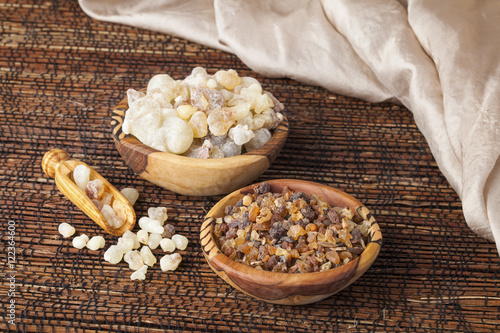 Myrrh and frankincense  is an aromatic resin, used for religious rites, incense Wallpaper Mural