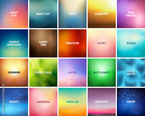 BIG set of 20 square blurred nature backgrounds. With various quotes Fototapete