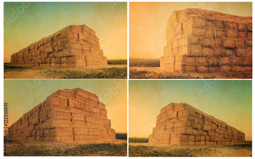 set of retro picture, autumn or summer landscape with haystack at sunset Fototapet