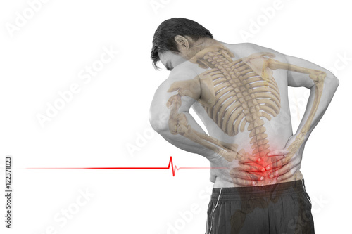 Fotografie, Obraz  A man problem chronic low back pain and skeleton isolated