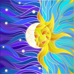 NaklejkaIllustration in stained glass style , abstract sun and moon in the sky