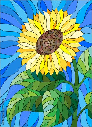 ilustracja-w-witrazu-stylu-kwiatu-sloneczniku-na-blekitnym-tle