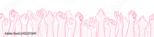 Photo Pink extra wide seamless border with raised hands of many people, support symbol