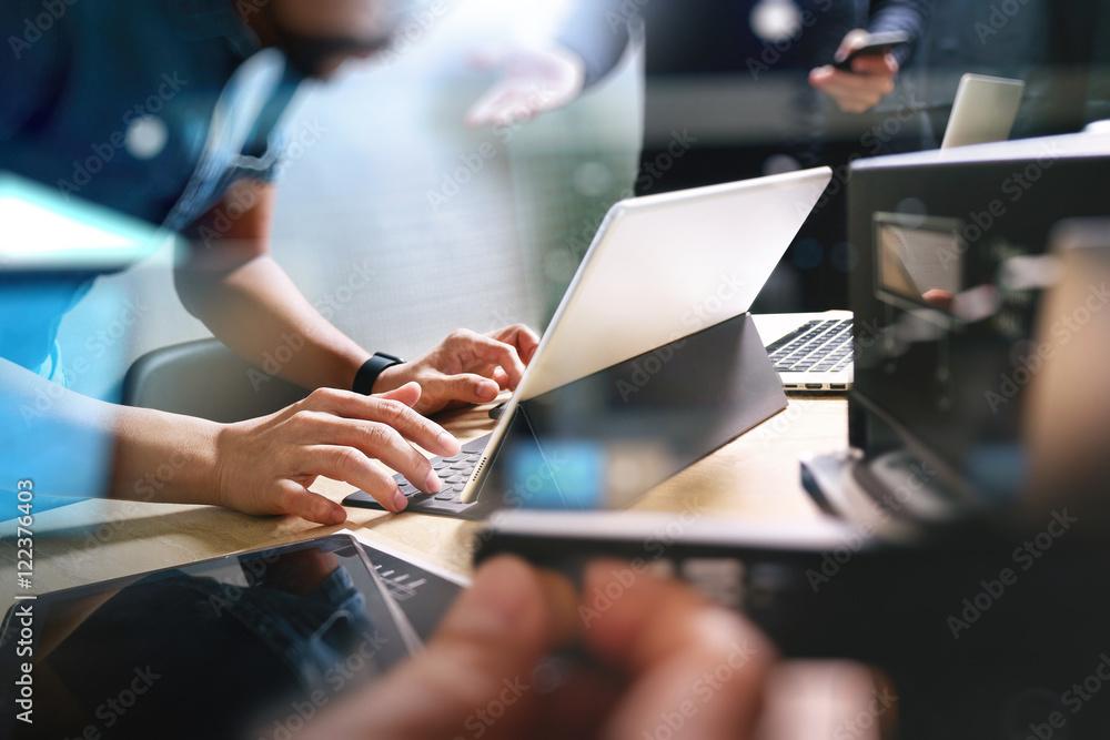 Fototapety, obrazy: StartUp Programming Team. Website designer working digital table