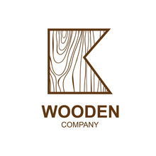 Abstract Letter K Logo Design Template With Wooden Texture,home,Logo Design,Vector Illustration,concept Wood, Sign,symbol,icon,Interesting Design Template For Your Company Logo