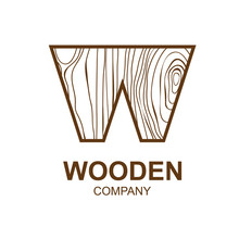 Abstract Letter W Logo Design Template With Wooden Texture,home,Logo Design,Vector Illustration,concept Wood, Sign,symbol,icon,Interesting Design Template For Your Company Logo