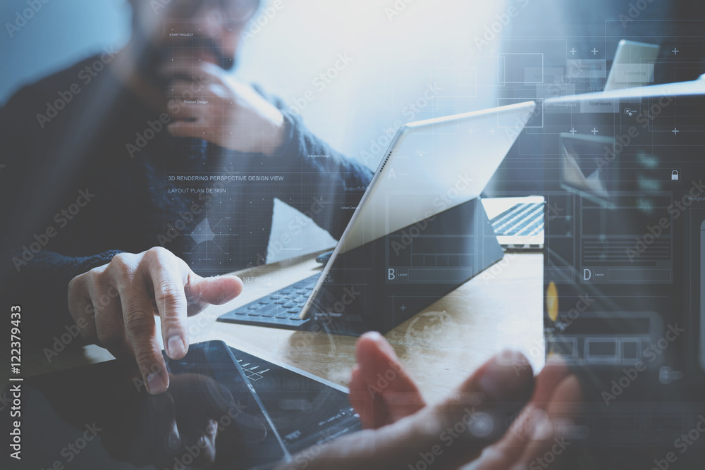 Fototapety, obrazy: Website designer working digital tablet and computer laptop with digital tablet and digital design diagram on wooden desk and compact server