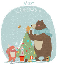 Cute Bear, Hare And Fox - Christmas Card
