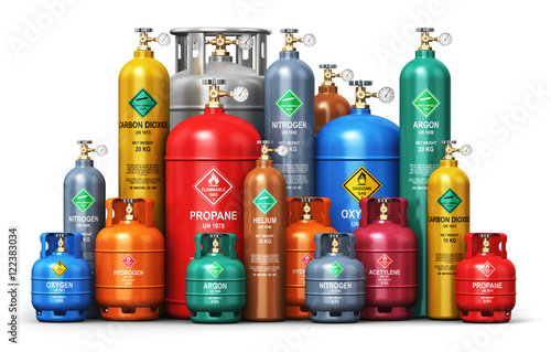 Fotografía  Set of different industrial liquefied gas containers