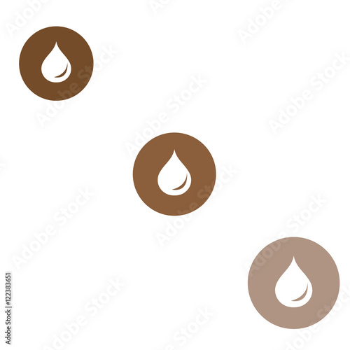 Foto op Plexiglas Chocolade Stylized icon of the three colored fuel droplets silhouette in c