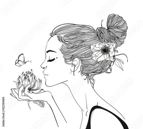 Aluminium Prints Butterflies in Grunge young beautiful woman wirh flowers