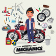 motorcycle mechanics with tool kit. character design - vector