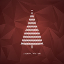 Modern Abstract Christmas Tree Vector Card Template With Line Art Xmas Holiday Symbol On Low Poly Background.