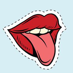 Pup art mouth and tongue, Sticker label