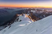 Aiguille Du Midi From Mont Blanc