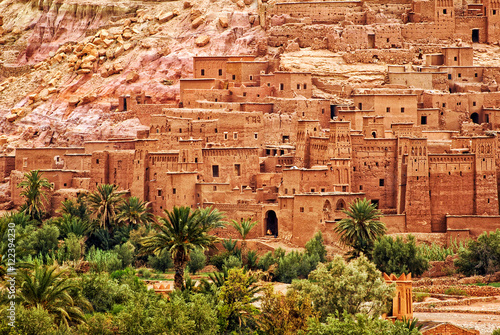 Poster Maroc Ait Benhaddou clay kasbah town, Morocco