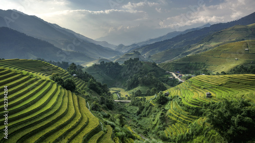 Poster Rijstvelden The beauty of the rice terraces and in the evening skies of Viet
