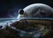 View of distant planet system from cliffs 3D rendering elements