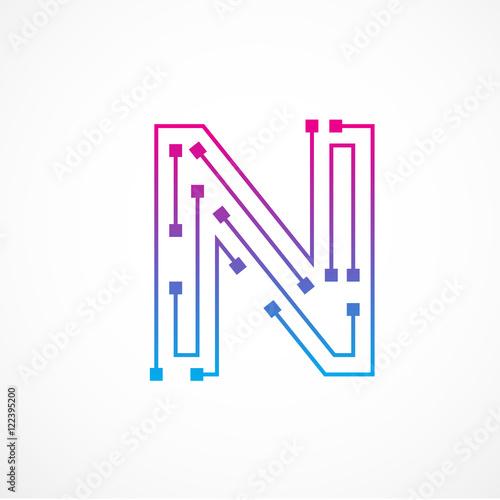 Abstract letter n logo design templatetechnologyelectronics abstract letter n logo design templatetechnologyelectronicsdigitaldot connection cross maxwellsz