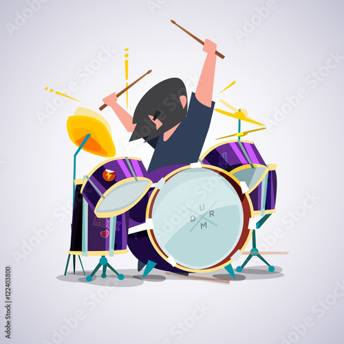 Fotografie, Tablou drummer with his drum set. character design - vector