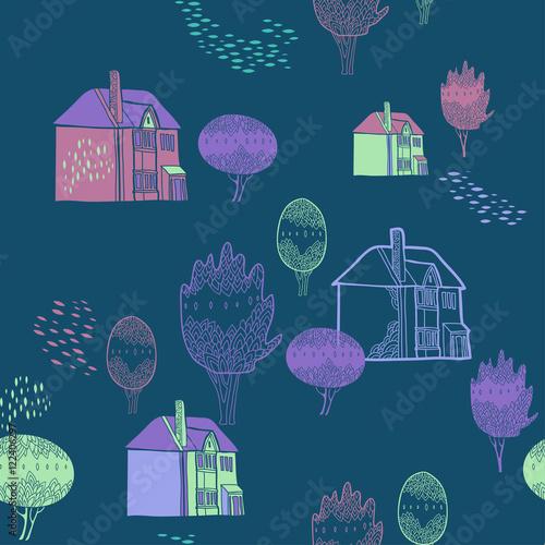 tlo-z-starego-miasta-wzor-sliczne-drzewa-i-domy-kolor-ozdobnych-tekstur-z-szczegoly-krajobrazu-kraju